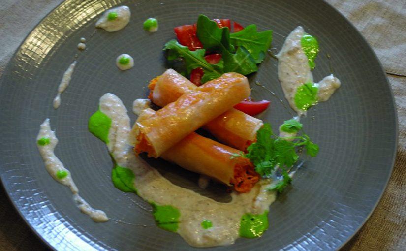 Bonbons de carottes de créances, crème de camembert de Normandie AOP aux herbes