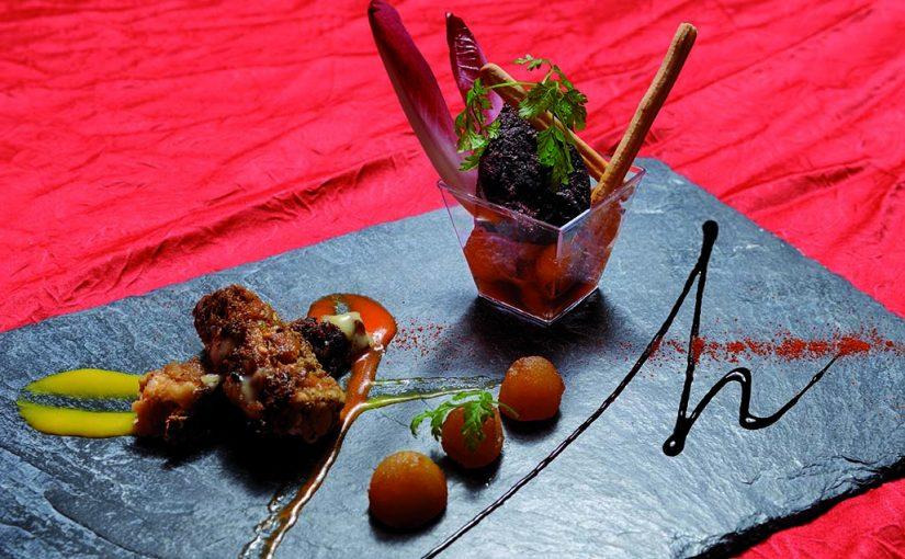 Douceur pomme boudin noir de mortagne et croustillant camembert de Normandie