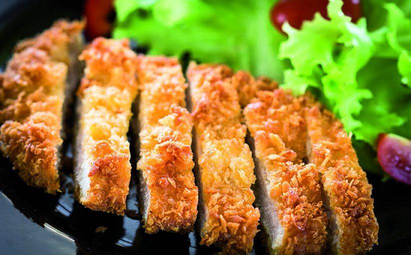 Escalopes de porc panées aux graines de lin et son flan de légumes