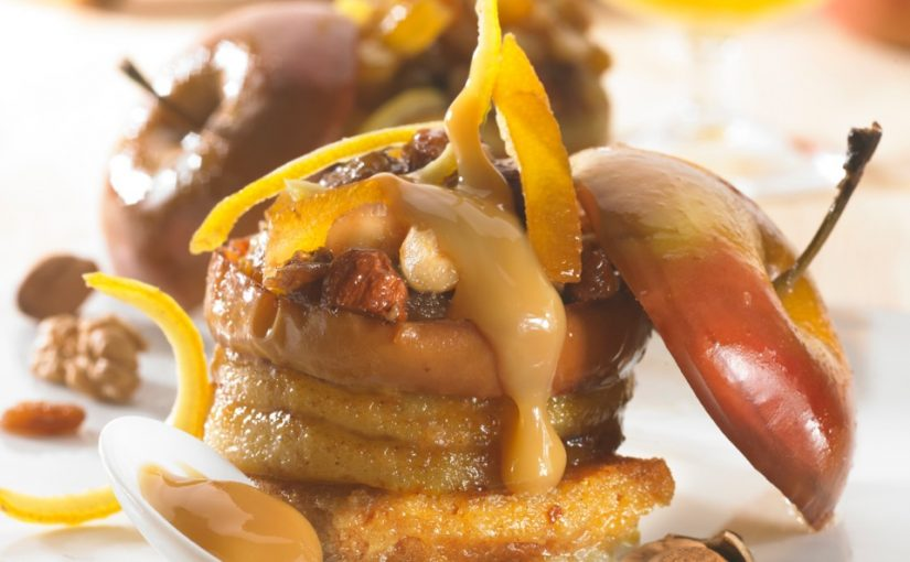 Pomme rôtie à la confiture de lait et fruits secs, gourmandise de pain d'épices au miel